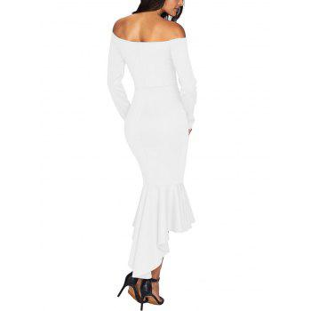 V Cut Off The Shoulder Mermaid Dress - WHITE WHITE