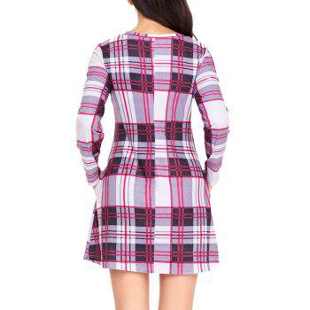Long Sleeve Plaid A-line Dress - GRAY XL