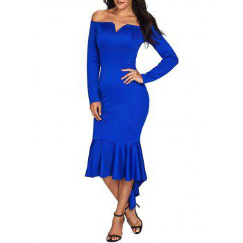 V Cut Off The Shoulder Mermaid Dress - BLUE S