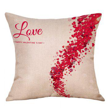 Heart Print Valentine's Day Linen Sofa Pillowcase - RED RED