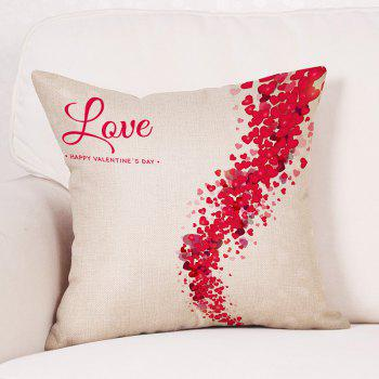 Heart Print Valentine's Day Linen Sofa Pillowcase - RED W18 INCH * L18 INCH