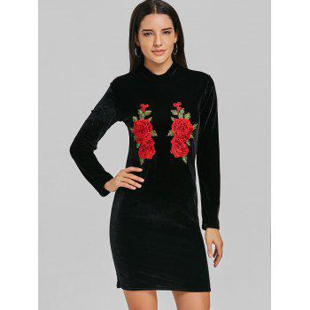 Embroidered High Neck Velvet Mini Dress - BLACK BLACK