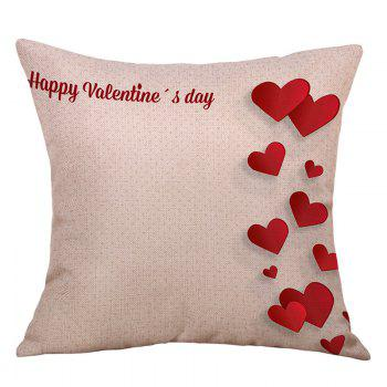 Hearts Print Linen Valentine's Day Pillowcase - RED RED