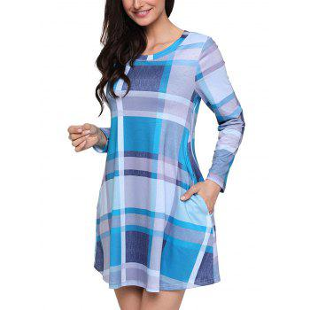 Long Sleeve Plaid A-line Dress - BLUE L