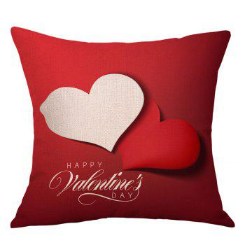 Hearts Greeting Print Valentine's Day Linen Sofa Pillowcase - RED RED