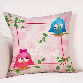 Birds Lovers Print Valentine's Day Linen Sofa Pillowcase - PINK W18 INCH * L18 INCH