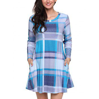 Long Sleeve Plaid A-line Dress - BLUE BLUE
