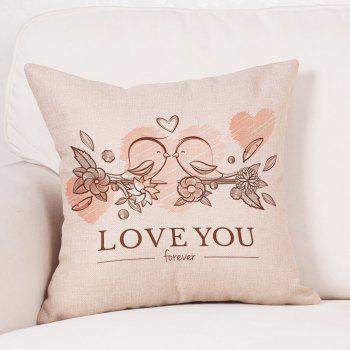 Valentine's Day Birds Lovers Print Linen Sofa Pillowcase - COLORMIX COLORMIX