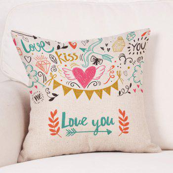 Valentine's Day Theme Print Linen Sofa Pillowcase - COLORMIX W18 INCH * L18 INCH