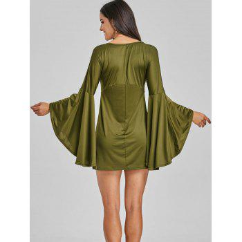 Bell Sleeve Mini Shift Dress - ARMY GREEN ARMY GREEN