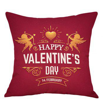 Valentine's Day Cupid Print Linen Sofa Pillowcase - RED RED