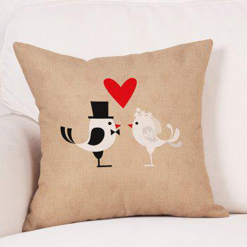 Birds Couple Print Valentines Day Linen Sofa Pillowcase - EARTHY W18 INCH * L18 INCH
