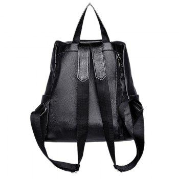 PU Leather Side Zip Backpack With Pompom - BLACK