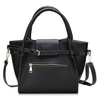 Front Zip Buckle Strap 2 Pieces Handbag Set - BLACK BLACK