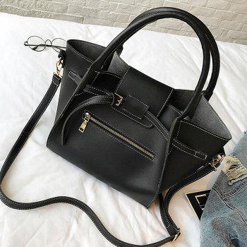 Front Zip Buckle Strap 2 Pieces Handbag Set -  BLACK