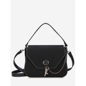 Stitching Faux Leather Handbag With Strap - BLACK BLACK