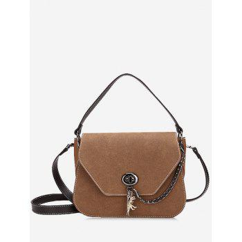 Stitching Faux Leather Handbag With Strap - DEEP BROWN DEEP BROWN