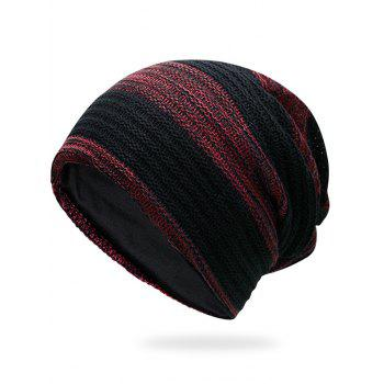 Simple Striped Pattern Slouchy Knitted Beanie - DEEP RED DEEP RED
