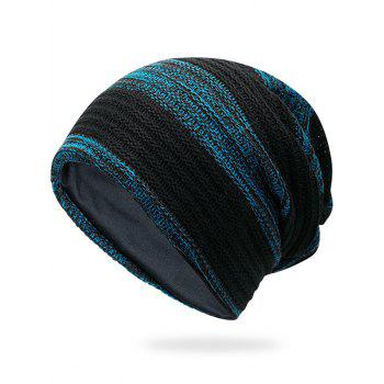 Simple Striped Pattern Slouchy Knitted Beanie - BLUE BLUE