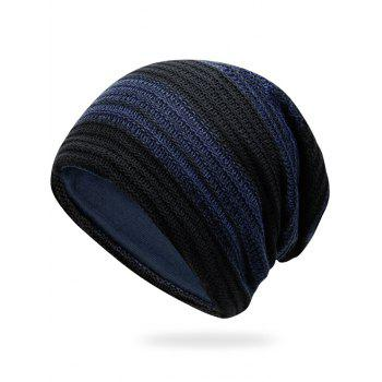 Simple Striped Pattern Slouchy Knitted Beanie - CERULEAN CERULEAN