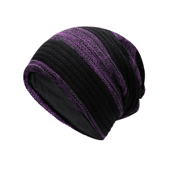Simple Striped Pattern Slouchy Knitted Beanie - PURPLE