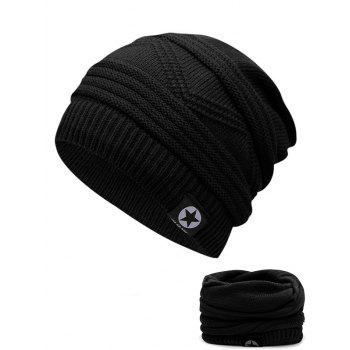 Multipurpose Empty Top Decorated Slouchy Knitted Beanie - BLACK BLACK