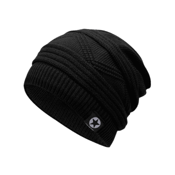 Multipurpose Empty Top Decorated Slouchy Knitted Beanie - BLACK