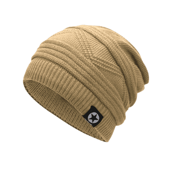 Multipurpose Empty Top Decorated Slouchy Knitted Beanie - PALOMINO