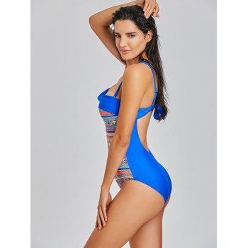 Tribal Pattern One Piece Backless Swimsuit - COLORMIX L