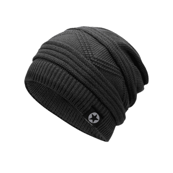 Multipurpose Empty Top Decorated Slouchy Knitted Beanie - DARK GRAY
