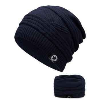 Multipurpose Empty Top Decorated Slouchy Knitted Beanie - CERULEAN CERULEAN