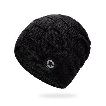 Simple Checkered Pattern Embellished Thicken Beanie - BLACK BLACK