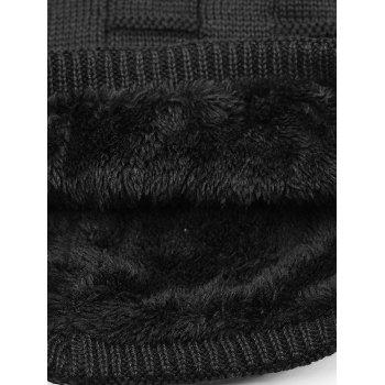 Simple Checkered Pattern Embellished Thicken Beanie -  BLACK