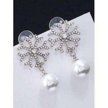 Snowflake Rhinestone Inlay Embellished Artificial Pearl Earrings - WHITE