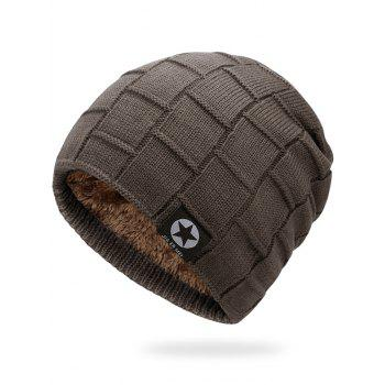 Simple Checkered Pattern Embellished Thicken Beanie - CAPPUCCINO CAPPUCCINO