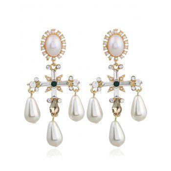 Pair of Libra Faux Pearl Decorated Drop Earrings - WHITE WHITE