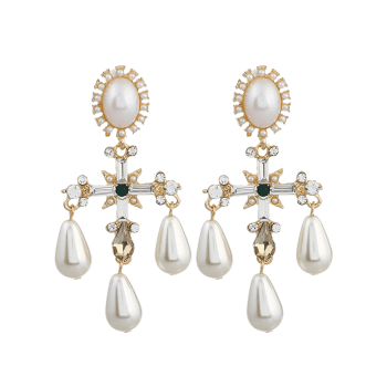 Pair of Libra Faux Pearl Decorated Drop Earrings -  WHITE