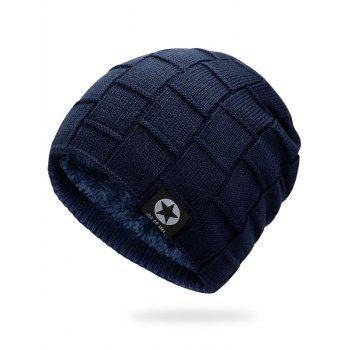 Simple Checkered Pattern Embellished Thicken Beanie - CERULEAN CERULEAN
