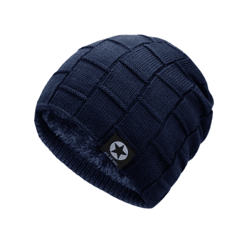 Simple Checkered Pattern Embellished Thicken Beanie -  CERULEAN