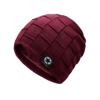 Bonnet Épais Simple Motif Carreaux - Perle Rouge