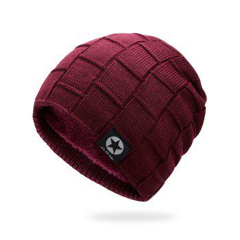 Simple Checkered Pattern Embellished Thicken Beanie - PEARL DATE RED PEARL DATE RED