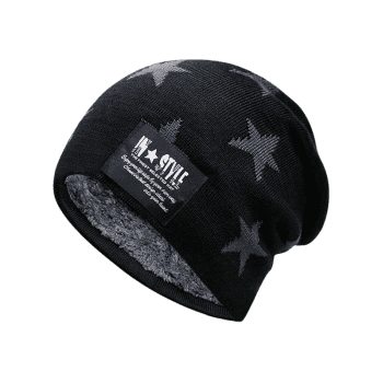 Simple Star Pattern Decorated Thicken Knitted Slouchy Beanie - BLACK