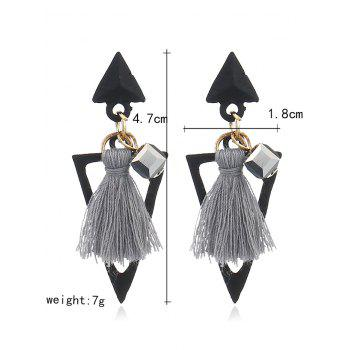 Double Triangle Shape Fringed  Decorated Drop Earrings - GRAY