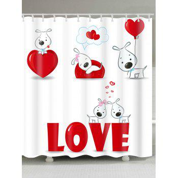 Valentine's Day Love Heart Puppies Patterned Shower Curtain - WHITE AND RED WHITE/RED