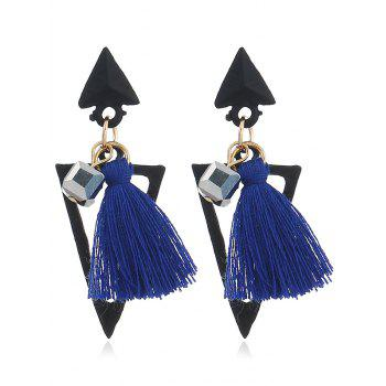 Double Triangle Shape Fringed  Decorated Drop Earrings - BLUE BLUE
