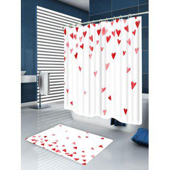 Heart of Love Printed Bath Room Shower Curtain - WHITE/RED W59 INCH * L71 INCH