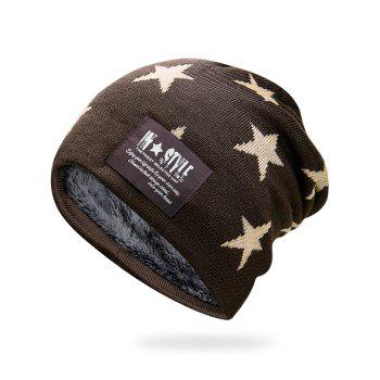 Simple Star Pattern Decorated Thicken Knitted Slouchy Beanie - CAPPUCCINO CAPPUCCINO