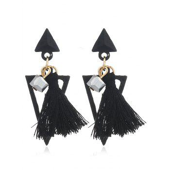 Double Triangle Shape Fringed  Decorated Drop Earrings - BLACK BLACK