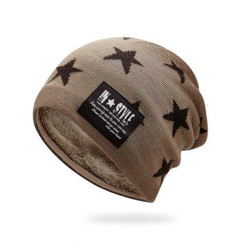 Simple Star Pattern Decorated Thicken Knitted Slouchy Beanie - KHAKI KHAKI