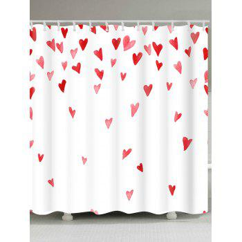 Heart of Love Printed Bath Room Shower Curtain - WHITE AND RED WHITE/RED